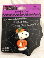 Hallmark Peanuts Collection Snoopy In Pumpkin Halloween Pin NOS