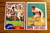 Tony Perez Topps 1981 #575 and 1982 #255 - Red Sox