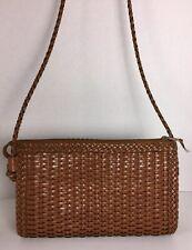 Vintage Genuine Leather Rectangular Woven Crossbody Bag, Purse