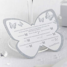 10 BUTTERFLY SCRATCH CARDS Wedding Trivia Silver Table Game Icebreaker Favours