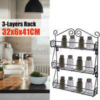 Spice Rack 3 Tier Wall Mounted Holder Storage Shelf Cabinet Organizer Kitchen US