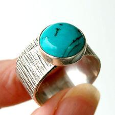 R824 Bague Argent Massif Ethnique Artisanal véritable Turquoise t56