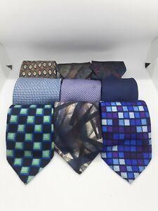 Mens Tie Bundle Job Lot x9 Mixed Sizes Colours Fabrics Art Craft Projects Blue 3