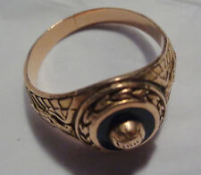10KT GOLD CLASS RING W, TOUCH OF ROSE GOLD BALL ON TOP  RING S-11