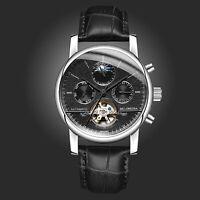 Mens Luxury Automatic Mechanical Tourbillon Moon Phase Leather Sport Watch Black