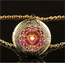 Heart Constellation Cabochon Glass Gold Plating Locket Pendant Necklace
