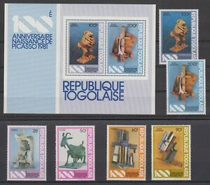 Togo Paintings Gemälde 1981 Picasso 1559-1564A + Block S/S 183 ** MNH
