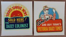 2 Vintage Newspaper Advertising Decals Colonist / Times Victoria BC  1950's