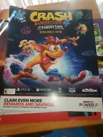 "Crash Bandicoot 4 It's About Time Poster Promo Ad 24x28"" Gamestop PS4 Xbox"