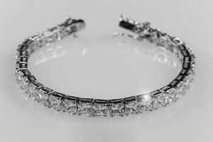 10.29cts Princess Cut Tennis Bracelet 14k White Gold Over Sterling Silver