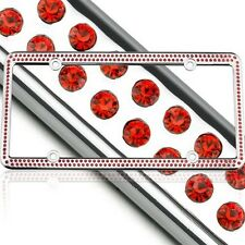 Swarovski Red Crystal Bling license plate frame Inlay With Screw Caps
