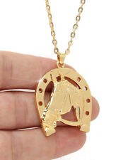 HORSE & WESTERN JEWELLERY JEWELRY LADIES HORSESHOE HORSE PENDANT NECKLACE GOLD