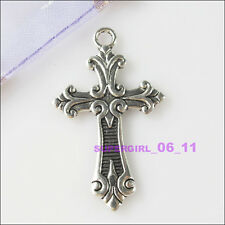 2Pcs Tibetan Silver Tone Cross Charms Pendants 23.5x38.5mm