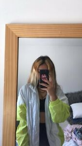 pull and bear grey, green, white lightweight jacket xs