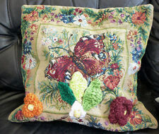 "16 "" EMBRIDERED CUSHION COVER PILLOW CASE HANDMADE CROCHE FLOWERS WOODEN BEADS"