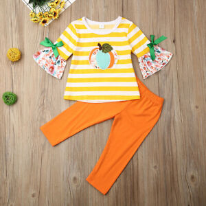 NEW Pumpkin Ruffle Sleeve Shirt Orange Leggings Girls Halloween Outfit Set
