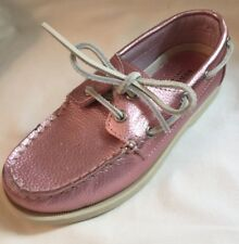 New Sonoma Girls Metallic Pink Boat Shoes Loafers Rawhide Laces sz 1
