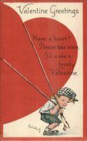 Valentine - Charles Twelvetrees - Little Boy w/ Giant Heart c1915 Postcard