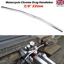 """7/8"""" 22mm Chrome Motorcycle Handlebars Flat Drag Bar For Harley Suzuki Honda ATV"""