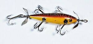 Early Pflueger 5 Hook Neverfail Underwater Minnow Lure Sienna Crackle OH 1907