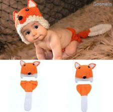 Neugeborene Baby Knit Strick Fotoshooting Kostüm Fuchs Mütze Höschen Orange