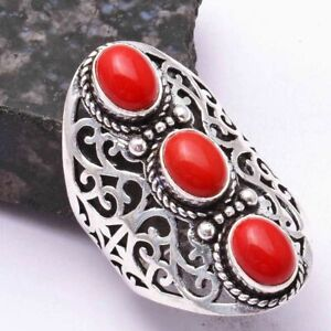 Coral Ethnic Handmade Three Stone Ring Jewelry US Size-11 AR 43658