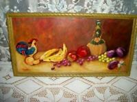 FRENCH COUNTRY ROOSTER FRUIT OIL PAINTING ANTIQUED FRAME VINTAGE MID CENTURY
