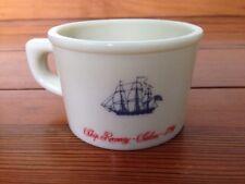 Vintage Old Spice Shaving Mug Milk Glass Tall Sailing Ships Recovery Salem 1794