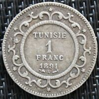 TUNISIE 1 FRANC 1891 A ARGENT