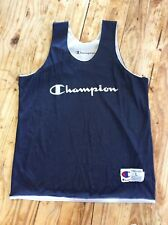 Vintage 90's Blue Champion Spell Out Reversible Basketball Mesh Jersey Sz L