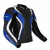 Spada Curve Leather motorcycle Jacket Sport Race Black/Blue 42