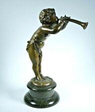 Bronze-Figur-original Jugendstil-Junge mit Trompete-15,5 cm-630 g-Kley-Art. 5604