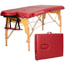 "84""L Portable Massage Table Adjustable Facial Spa Bed Tattoo w/ Carry Case Red"