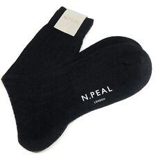 N PEAL Mens Black Cashmere Socks UK Size M 7.5 - 9.5 Ribbed Luxury Hosiery £79