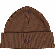 Authentic FRED PERRY Brown 100% Wool Beanie Hat - Adult One Size