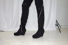 Rick Owens Black Suede Platform Wedge Knee High Boots Size 45