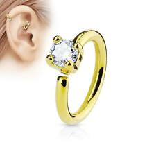 Gold Bendable Nose, Septum, Ear Hoop Ring with Clear Prong Set CZ Gem