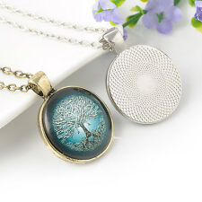 Inspired Vintage Silver/Bronze Life Tree Clock Glass Photo Pendant Necklace Hot