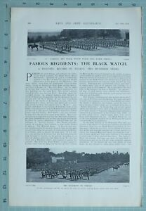 1914 WW1 PRINT THE BLACK WATCH C COMPANY REGIMENT ON PARADE OFFICERS B COMPANY