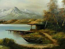 Anton signiert (XX) - Alpen-Gemälde: Königssee-? PANORAMA, HÜTTE MIT STEG & BOOT