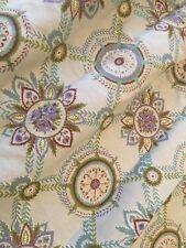 "Vtg Mid Century 1pr Cotton 45"" Curtains Drapes Florals Shades of Blues"