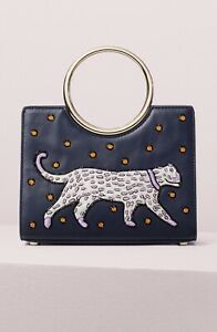 KATE SPADE Sam Panther Appliqué Bracelet Mini Satchel Beaded Chain Leather