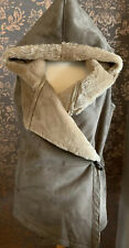 NEXT Grey Suede Hooded Gilet, Faux Fur Lining, Winter, UK 12, VGC Soft Classy