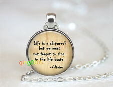 Tibet silver Chain Pendant Necklace wholesale Voltaire Life is a Shipwreck dome