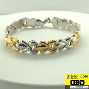 STUNNING ITALIAN STERLING SILVER & GOLD PATTERNED BRACELET - FREE P&P
