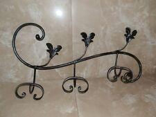 APPENDIABITI da parete a 3 posti in ferro battuto con foglie decorative