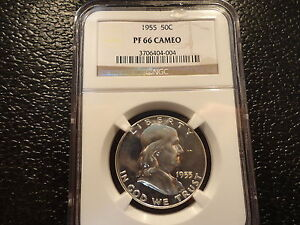 1955 FRANKLIN HALF DOLLAR 50 CENTS SILVER NGC PF PROOF 66 CAMEO- BRILLANT-OFFERS