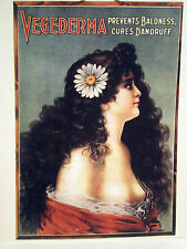 1890 Vintage Barber Color Sign Ad VEGEDERMA NUDE COLOR LITHO PREVENTS BALDNESS