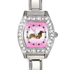 Dachshund Dog CZ Lady Stainless Steel Italian Charms Bracelet Wrist Watch BJ1066