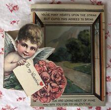 Vintage Fold-Out Valentine Cupid Delivering Roses & Love Letter
